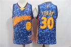 Warriors #30 Stephen Curry Blue Hardwood Classics Jersey