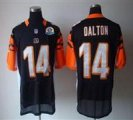 Nike Bengals #14 Andy Dalton Black With Hall of Fame 50th Patch NFL Elite Jersey