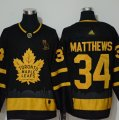 Maple Leafs #34 Auston Matthews Black With Special Glittery Logo Adidas Jersey