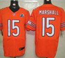Nike Bears #15 Brandon Marshall Orange With Hall of Fame 50th Patch NFL Elite Jersey
