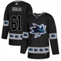 Sharks #61 Justin Braun Black Team Logos Fashion Adidas Jersey