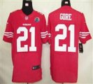 Nike 49ers #21 Frank Gore Red Team Color With Hall of Fame 50th Patch NFL Elite Jersey
