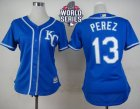 Women Kansas City Royals #13 Salvador Perez Blue Alternate 2 W 2015 World Series Patch Stitched MLB Jersey