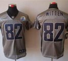 Nike Cowboys #82 Jason Witten Grey Shadow With Hall of Fame 50th Patch NFL Elite Jersey