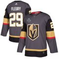 Mens Vegas Golden Knights #29 Marc-Andre Fleury adidas Gray 2018 Stanley Cup Patch Jersey