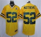 Nike Packers #52 Clay Matthews Yellow With Hall of Fame 50th Patch NFL Elite Jersey