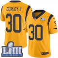 Nike Rams #30 Todd Gurley II Gold 2019 Super Bowl LIII Color Rush Limited Jersey
