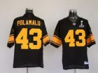 Steelers #43 Troy Polamalu Super Bowl XLV black[Yellow Number]
