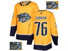 Men Adidas Nashville Predators #76 P.K Subban Yellow Home Authentic Fashion Gold Stitched NHL Jersey