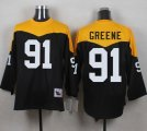 Mitchell And Ness 1967 Pittsburgh Steelers #91 Kevin Greene Black Yelllow Throwback Men Stitched NFL Jersey