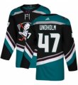Mens Adidas Anaheim Ducks #47 Hampus Lindholm Authentic Black Teal Third NHL Jersey