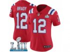 Women Nike New England Patriots #12 Tom Brady Red Alternate Vapor Untouchable Limited Player Super Bowl LII NFL Jersey