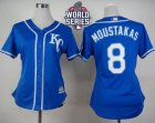 Women Kansas City Royals #8 Mike Moustakas Blue Alternate 2 W 2015 World Series Patch Stitched MLB Jersey
