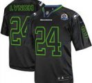 Nike Seahawks #24 Marshawn Lynch Lights Out Black With Hall of Fame 50th Patch NFL Elite Jersey