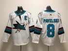 Sharks #8 Joe Pavelski White Adidas Jersey