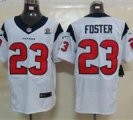 Nike Texans #23 Arian Foster White With Hall of Fame 50th Patch NFL Elite Jersey