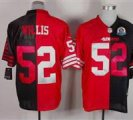 Nike 49ers #52 Patrick Willis Black&Red With Hall of Fame 50th Patch NFL Elite Jersey