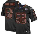 Nike Broncos #58 Von Miller Lights Out Black With Hall of Fame 50th Patch NFL Elite Jersey