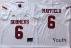 Oklahoma Sooners 6 Baker Mayfield White Youth College Football Jersey