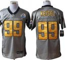 Nike Steelers #99 Brett Keisel Grey Shadow With Hall of Fame 50th Patch NFL Elite Jersey