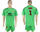 2017-18 Lyon 1 LOPES Green Goalkeeper Soccer Jersey