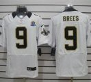 Nike Saints #9 Drew Brees White With Hall of Fame 50th Patch NFL Elite Jersey