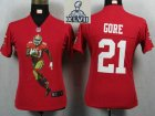 2013 Super Bowl XLVII Women NEW San Francisco 49ers 21 Gore Red Portrait Fashion Game Jerseys