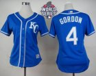 Women Kansas City Royals #4 Alex Gordon Blue Alternate 2 W 2015 World Series Patch Stitched MLB Jersey