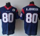 Nike Texans #80 Andre Johnson Navy Blue With Hall of Fame 50th Patch NFL Elite Jersey