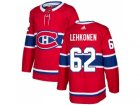 Men Adidas Montreal Canadiens #62 Artturi Lehkonen Red Home Authentic Stitched NHL Jersey