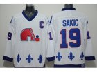 NHL quebec nordiques #19 sakic white Throwback jerseys