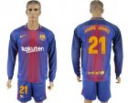 2017-18 Barcelona 21 ANDRE GOMES Home Long Sleeve Soccer Jersey