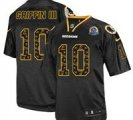 Nike Redskins #10 Robert Griffin III New Lights Out Black With Hall of Fame 50th Patch NFL Elite Jersey