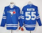 Men Toronto Blue Jays #55 Russell Martin Blue Long Sleeve Stitched MLB Jersey
