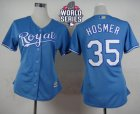Women Kansas City Royals #35 Eric Hosmer Light Blue Alternate 1 W 2015 World Series Patch Stitched MLB Jersey