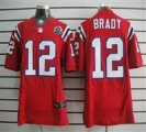 Nike Patriots #12 Tom Brady Red With Hall of Fame 50th Patch NFL Elite Jersey