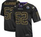 Nike Ravens #52 Ray Lewis Lights Out Black With Hall of Fame 50th Patch NFL Elite Jersey