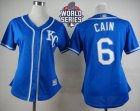 Women Kansas City Royals #6 Lorenzo Cain Blue Alternate 2 W 2015 World Series Patch Stitched MLB Jersey