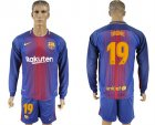 2017-18 Barcelona 19 DIGNE Home Long Sleeve Soccer Jersey