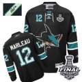 Mens Reebok San Jose Sharks #12 Patrick Marleau Authentic Black Third Autographed 2016 Stanley Cup Final Bound NHL Jersey