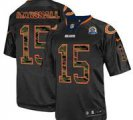 Nike Bears #15 Brandon Marshall Black(Camo Number) With Hall of Fame 50th Patch NFL Elite Jersey