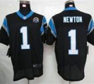 Nike Panthers #1 Cam Newton Black With Hall of Fame 50th Patch NFL Elite Jersey