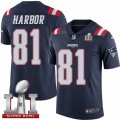 Youth Nike New England Patriots #81 Clay Harbor Limited Navy Blue Rush Super Bowl LI 51 NFL Jersey