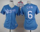Women Kansas City Royals #6 Lorenzo Cain Light Blue Alternate 1 W 2015 World Series Patch Stitched MLB Jersey