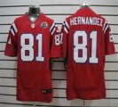 Nike Patriots #81 Aaron Hernandez Red With Hall of Fame 50th Patch NFL Elite Jersey