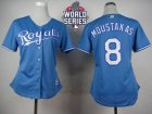 Women Kansas City Royals #8 Mike Moustakas Light Blue Alternate 1 W 2015 World Series Patch Stitched MLB Jersey