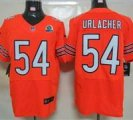 Nike Bears #54 Brian Urlacher Orange With Hall of Fame 50th Patch NFL Elite Jersey