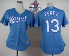 Women Kansas City Royals #13 Salvador Perez Light Blue Alternate 1 W 2015 World Series Patch Stitched MLB Jersey