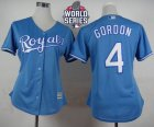 Women Kansas City Royals #4 Alex Gordon Light Blue Alternate 1 W 2015 World Series Patch Stitched MLB Jersey