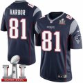 Youth Nike New England Patriots #81 Clay Harbor Elite Navy Blue Team Color Super Bowl LI 51 NFL Jersey